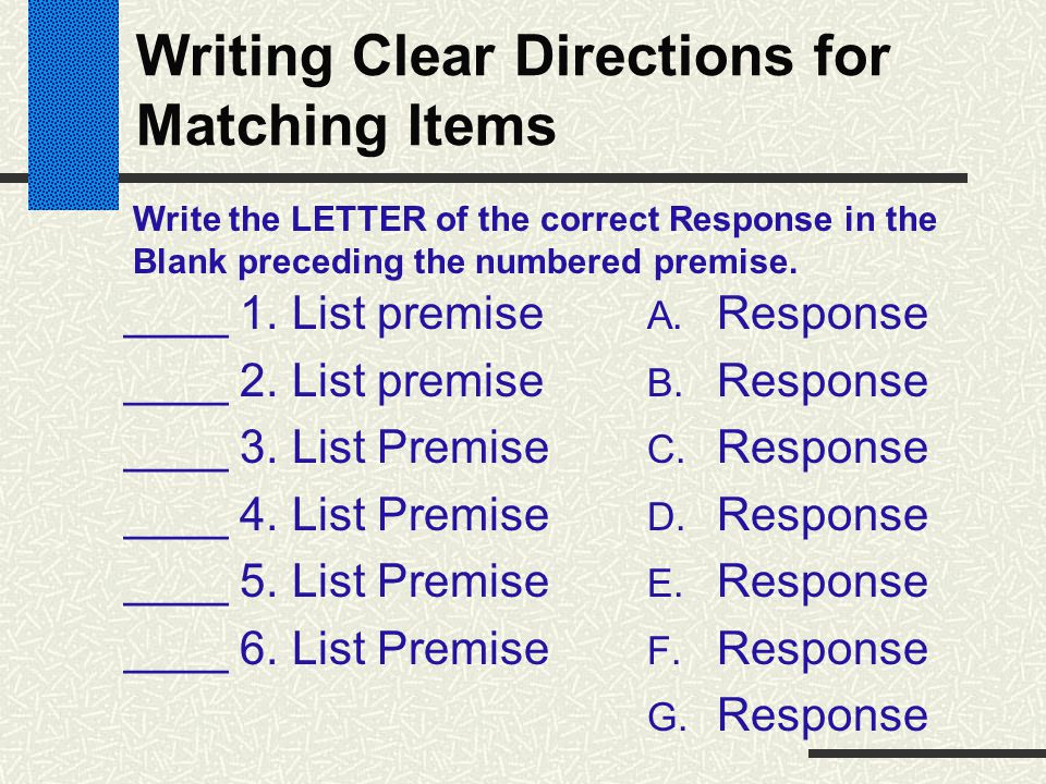 Writing Clear Directions for Matching Items