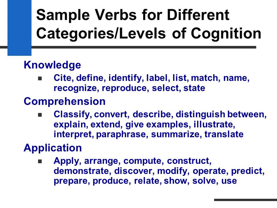 Sample Verbs for Different Categories/Levels of Cognition