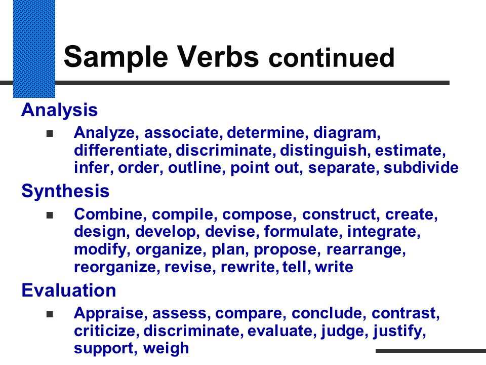 Sample Verbs continued