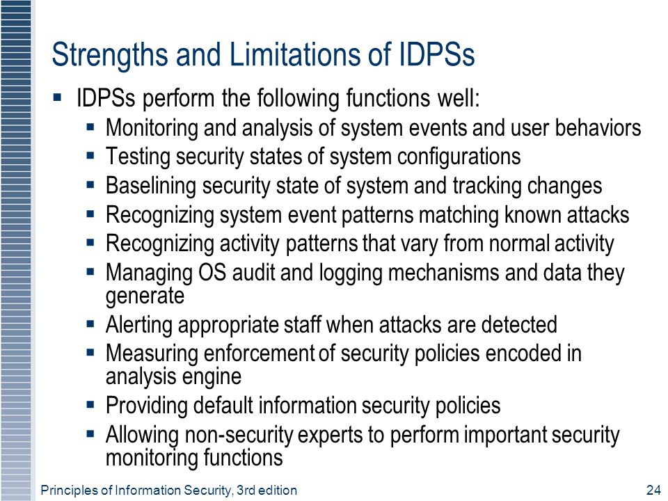 Strengths and Limitations of IDPSs