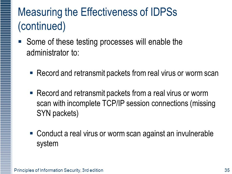 Measuring the Effectiveness of IDPSs (continued)