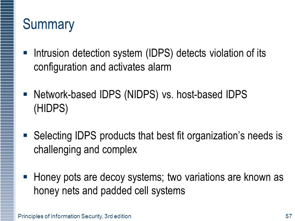 Summary Intrusion detection system (IDPS) detects violation of its configuration and activates alarm.