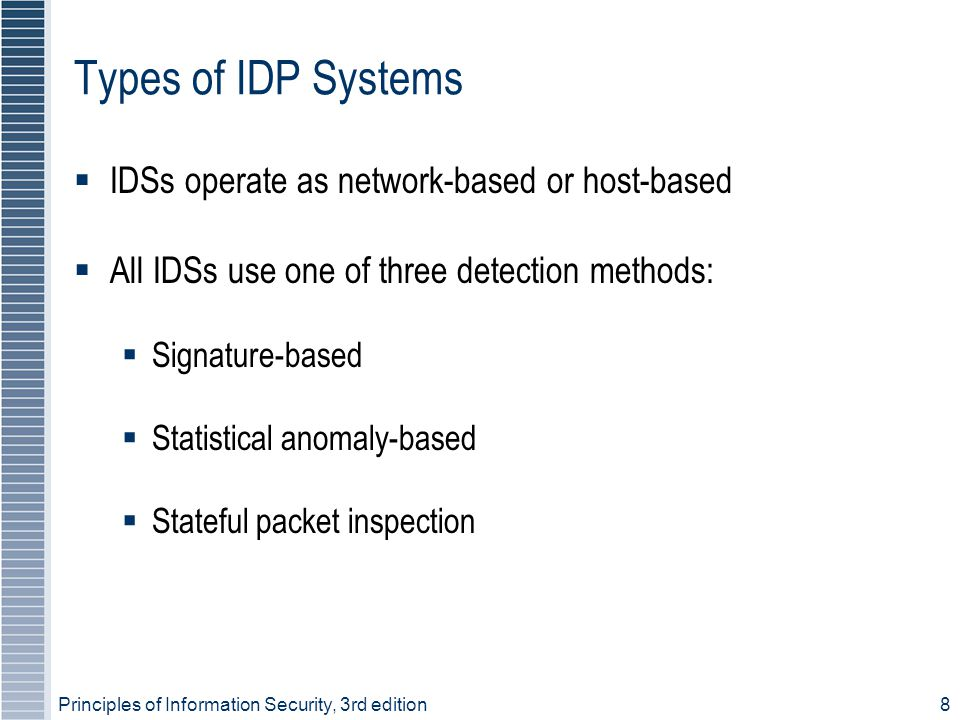 Types of IDP Systems IDSs operate as network-based or host-based