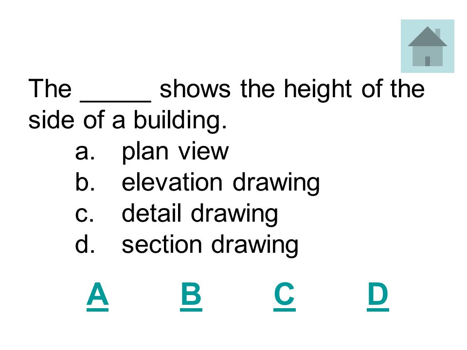 The _____ shows the height of the side of a building. a. plan view. b