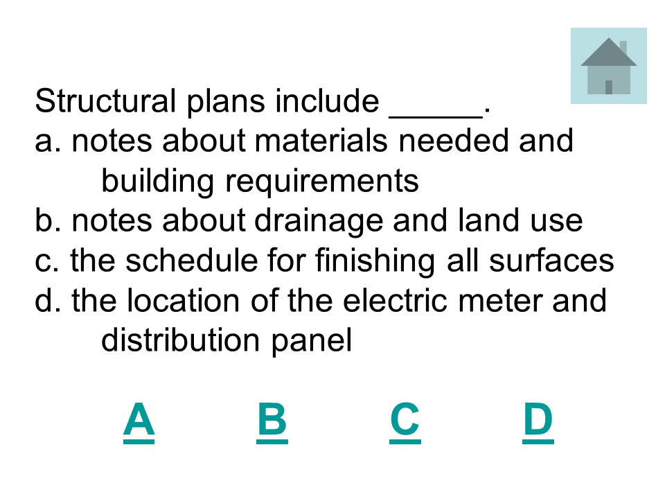 Structural plans include _____. a. notes about materials needed and