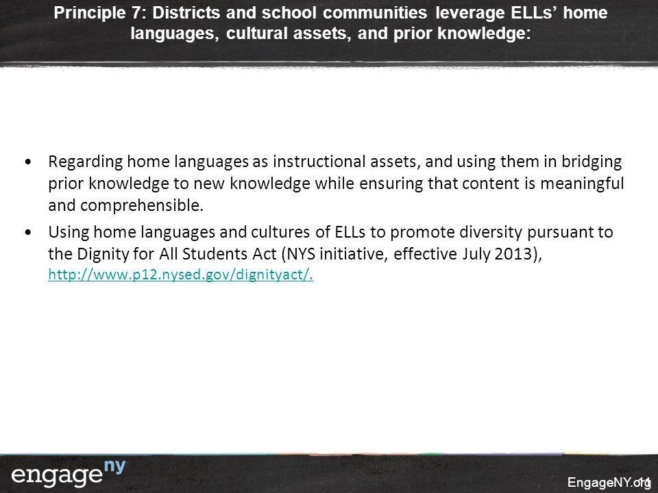 Principle 7: Districts and school communities leverage ELLs' home languages, cultural assets, and prior knowledge: