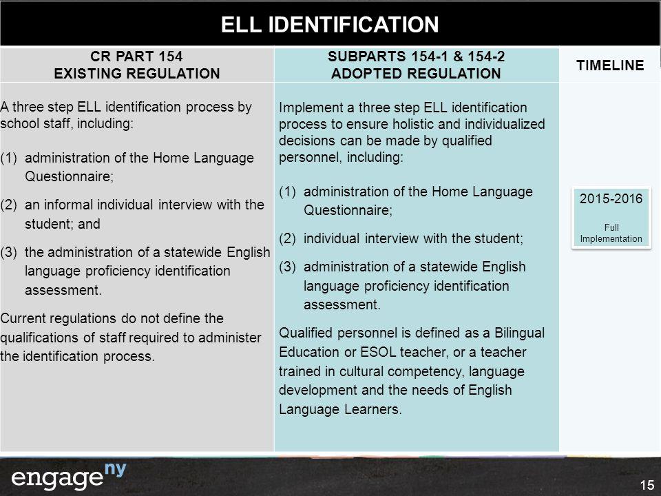 IDENTIFICATION ELL IDENTIFICATION CR PART 154 EXISTING REGULATION
