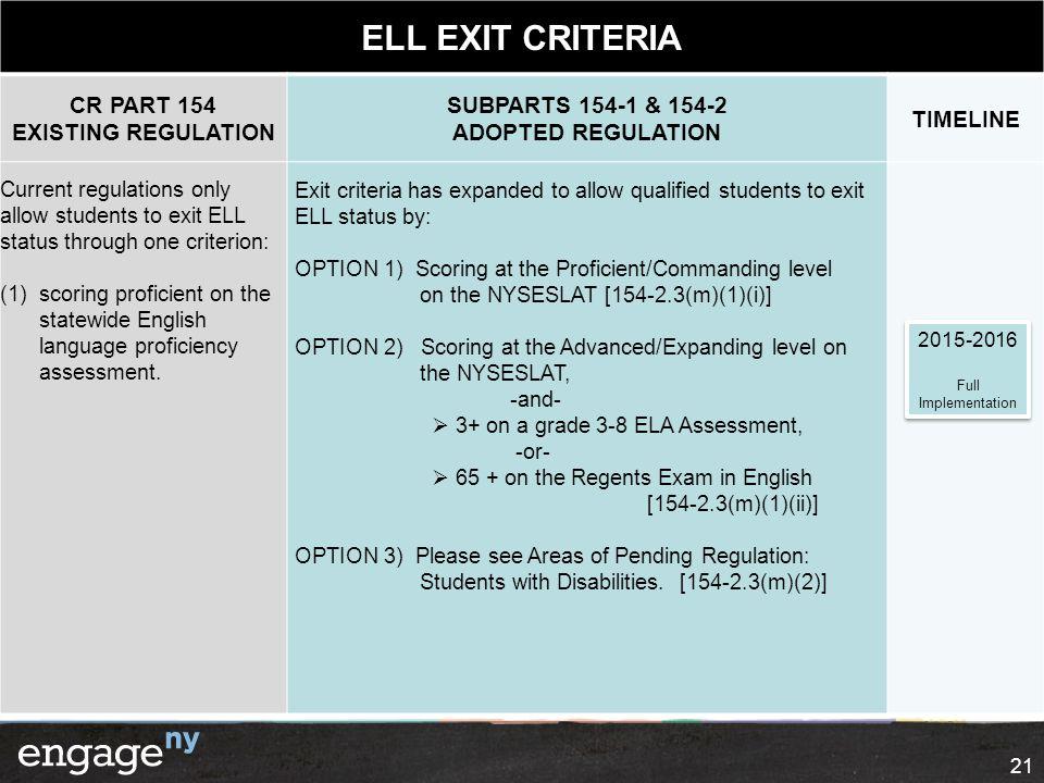 ELL EXIT CRITERIA CR PART 154 EXISTING REGULATION