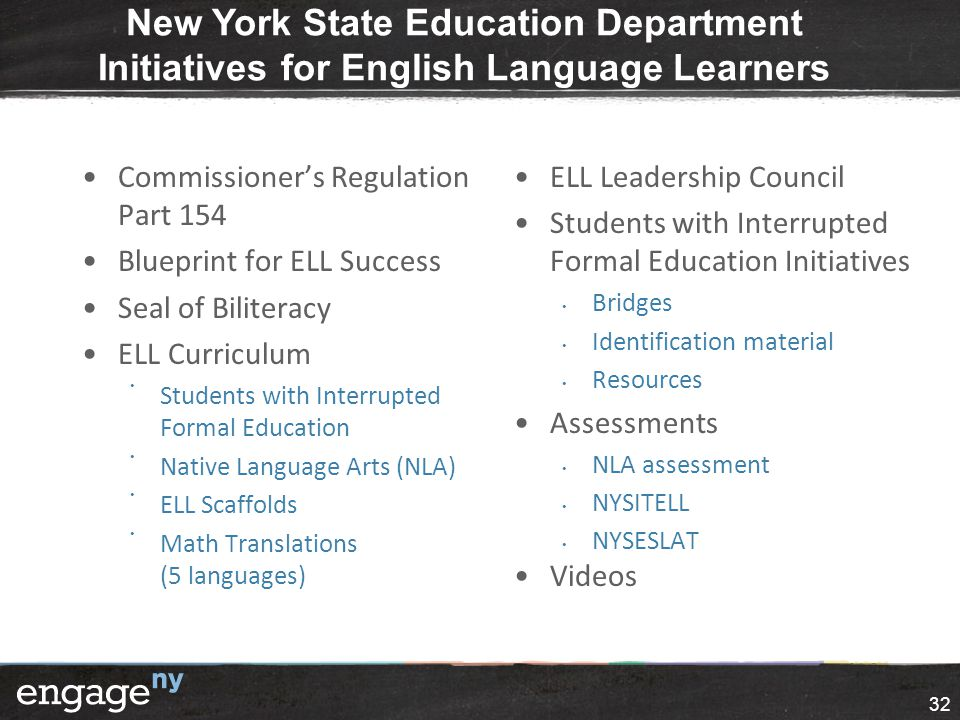 New York State Education Department Initiatives for English Language Learners