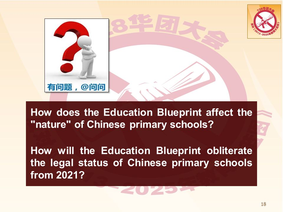 How does the Education Blueprint affect the nature of Chinese primary schools How will the Education Blueprint obliterate the legal status of Chinese primary schools from 2021