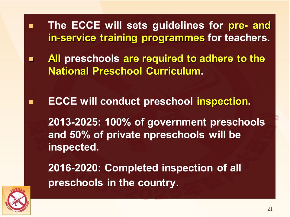 ECCE will conduct preschool inspection.
