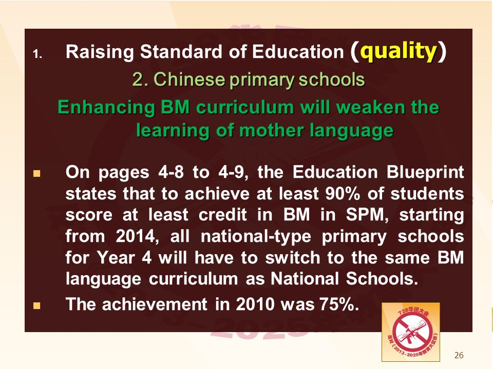 Raising Standard of Education (quality) 2. Chinese primary schools