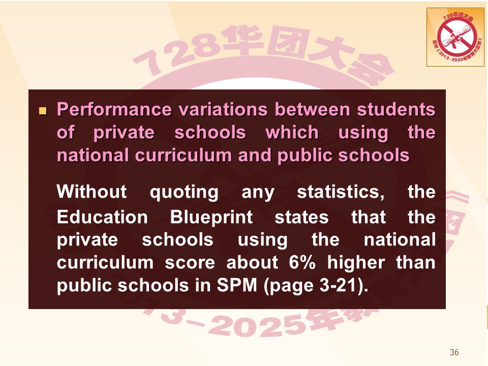 Performance variations between students of private schools which using the national curriculum and public schools