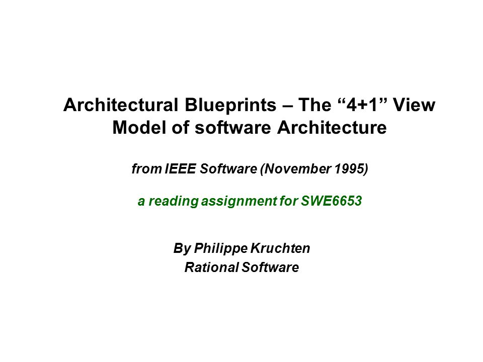 By Philippe Kruchten Rational Software