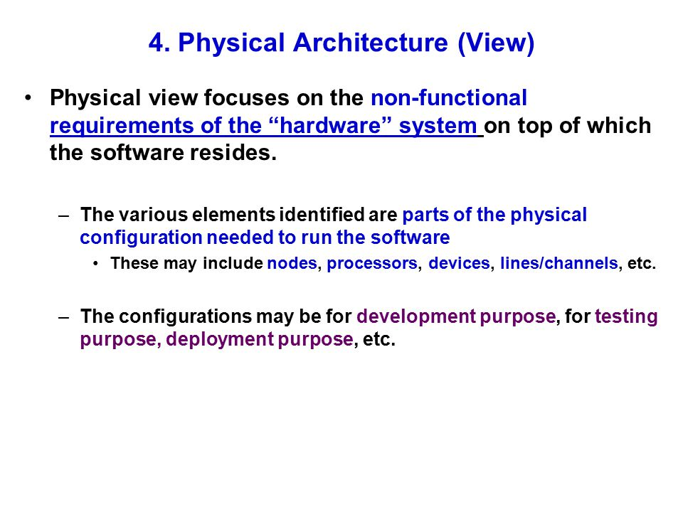 4. Physical Architecture (View)