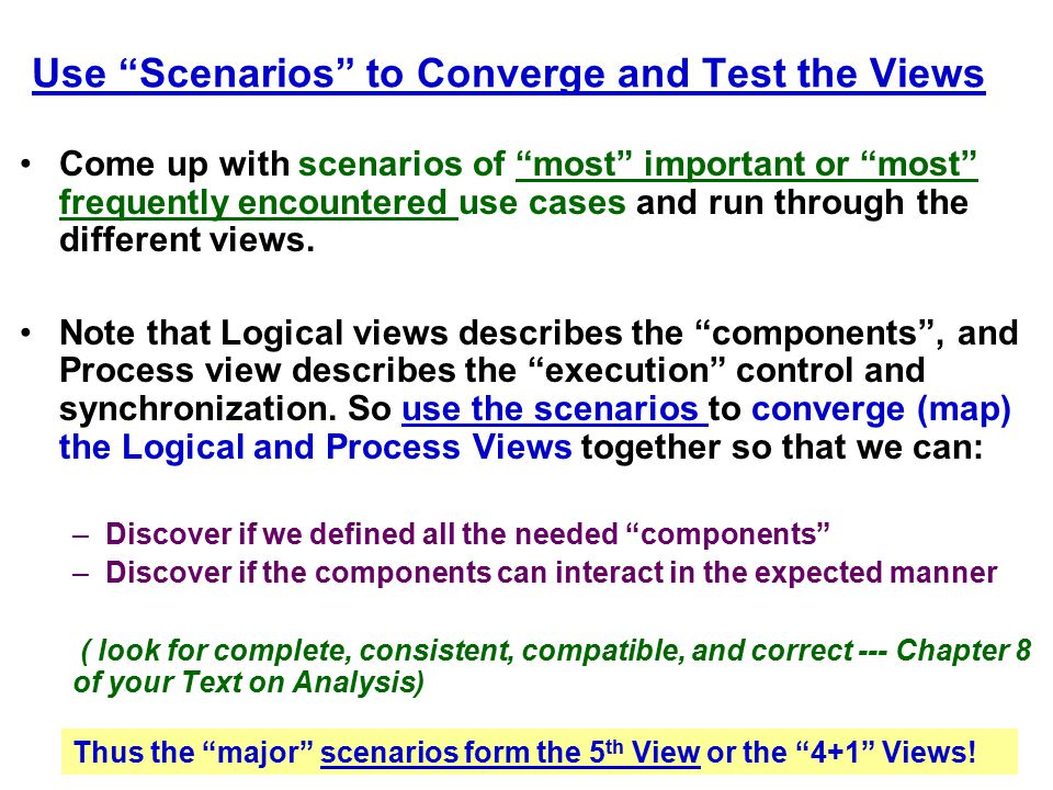 Use Scenarios to Converge and Test the Views
