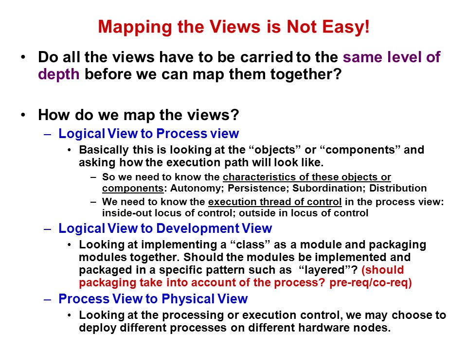 Mapping the Views is Not Easy!