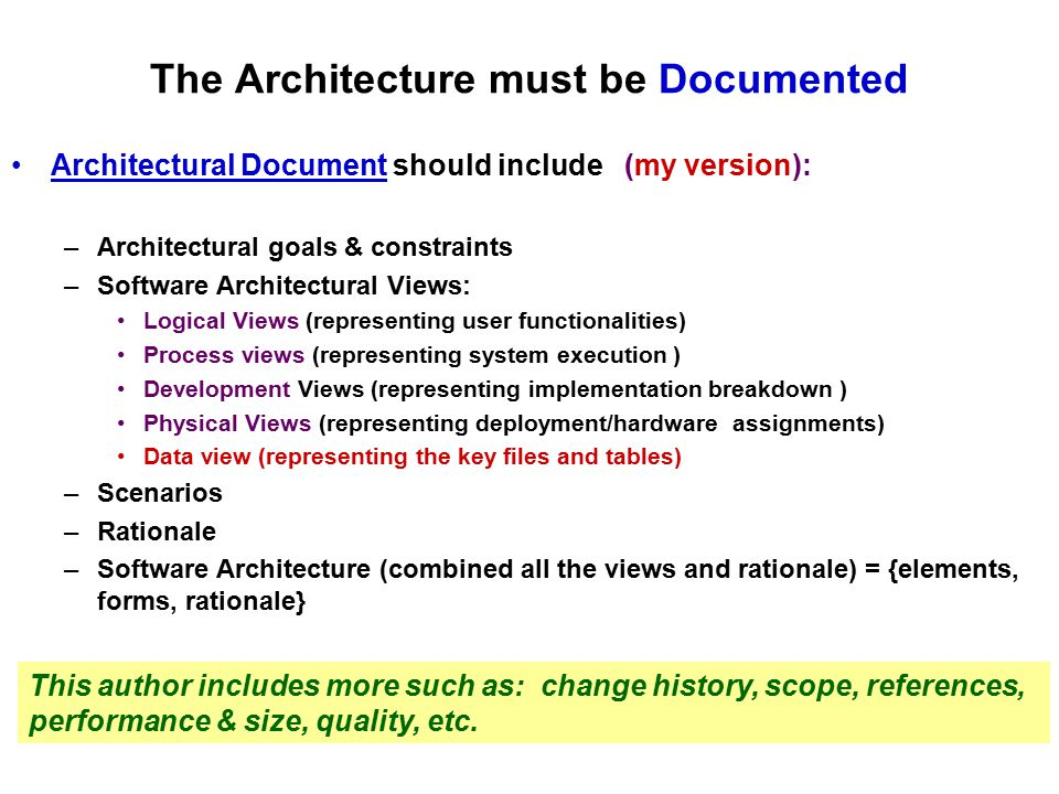The Architecture must be Documented