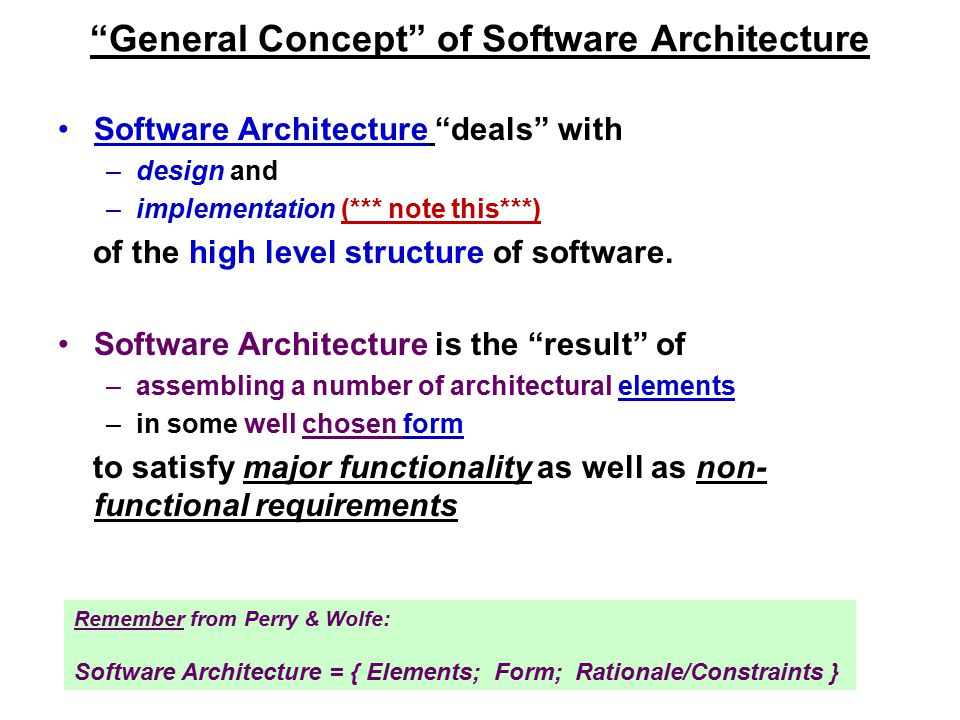 General Concept of Software Architecture