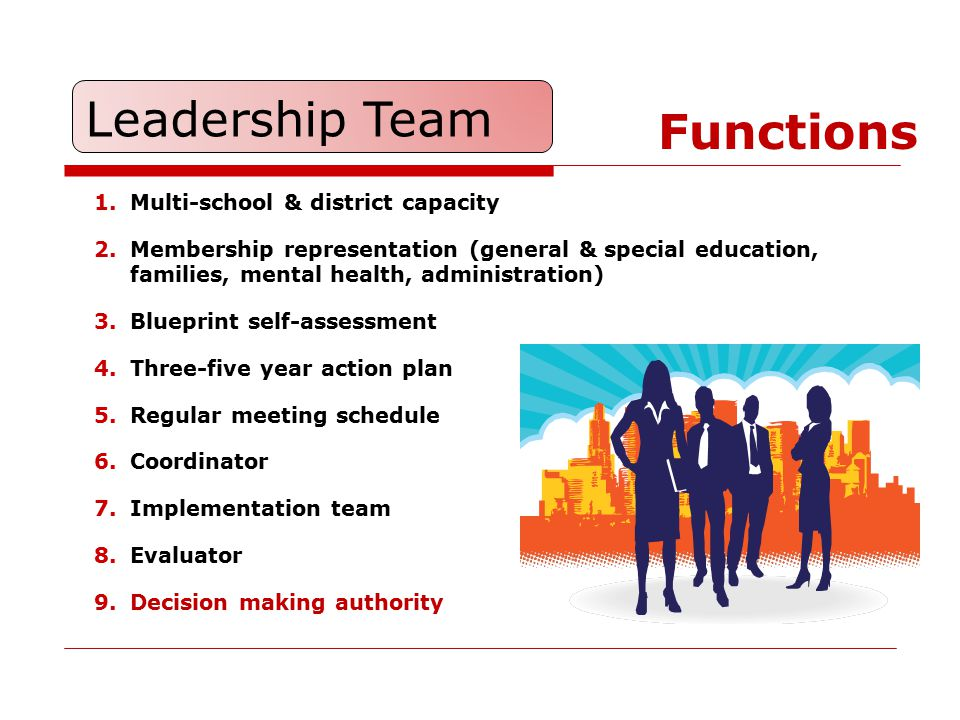Leadership Team Functions Multi-school & district capacity