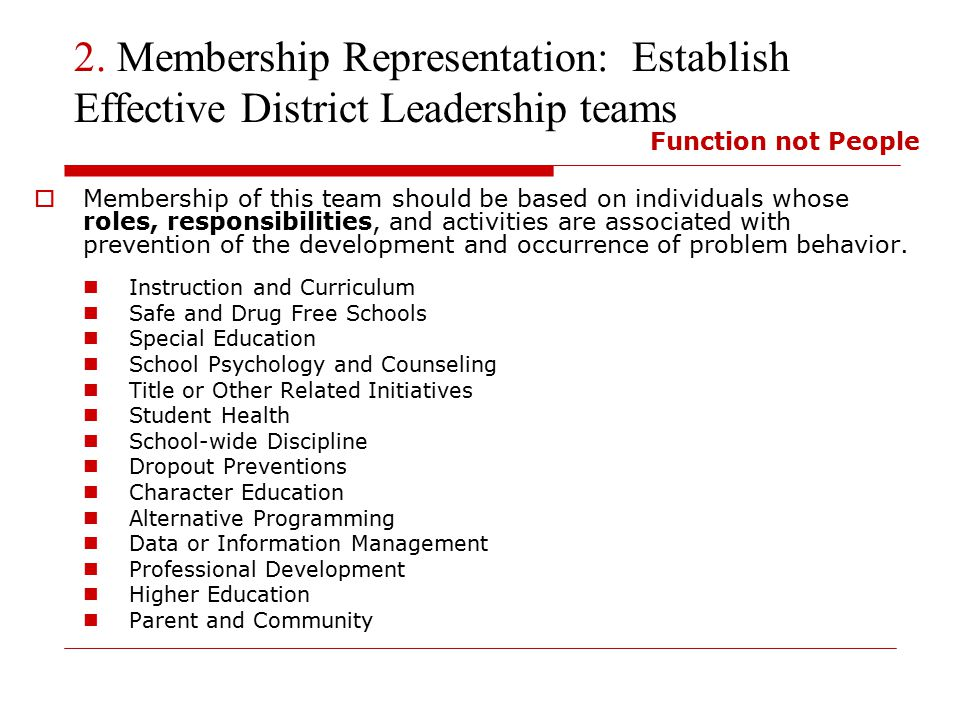 2. Membership Representation: Establish Effective District Leadership teams