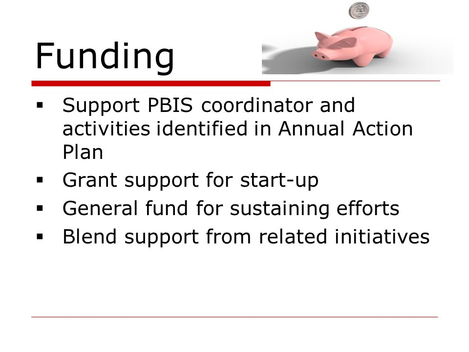 Funding Support PBIS coordinator and activities identified in Annual Action Plan. Grant support for start-up.