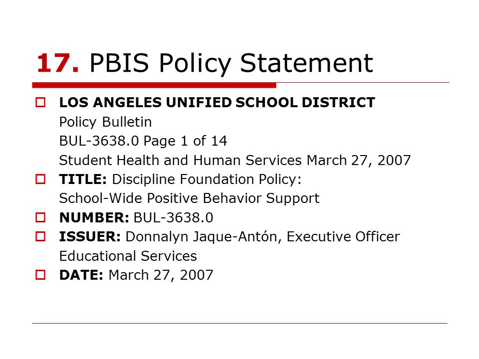 17. PBIS Policy Statement LOS ANGELES UNIFIED SCHOOL DISTRICT
