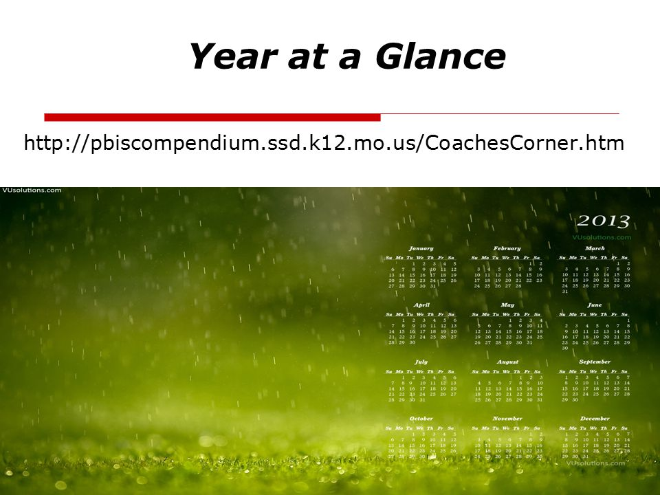 Year at a Glance http://pbiscompendium.ssd.k12.mo.us/CoachesCorner.htm