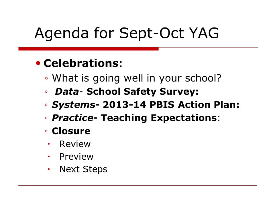 Agenda for Sept-Oct YAG