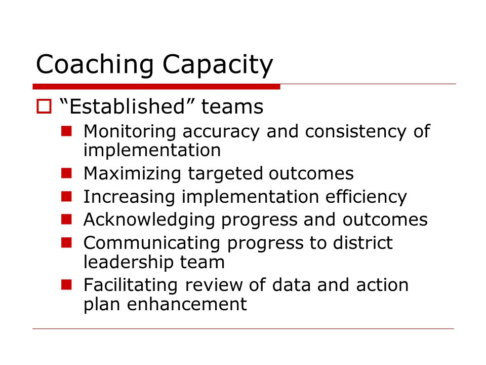 Coaching Capacity Established teams