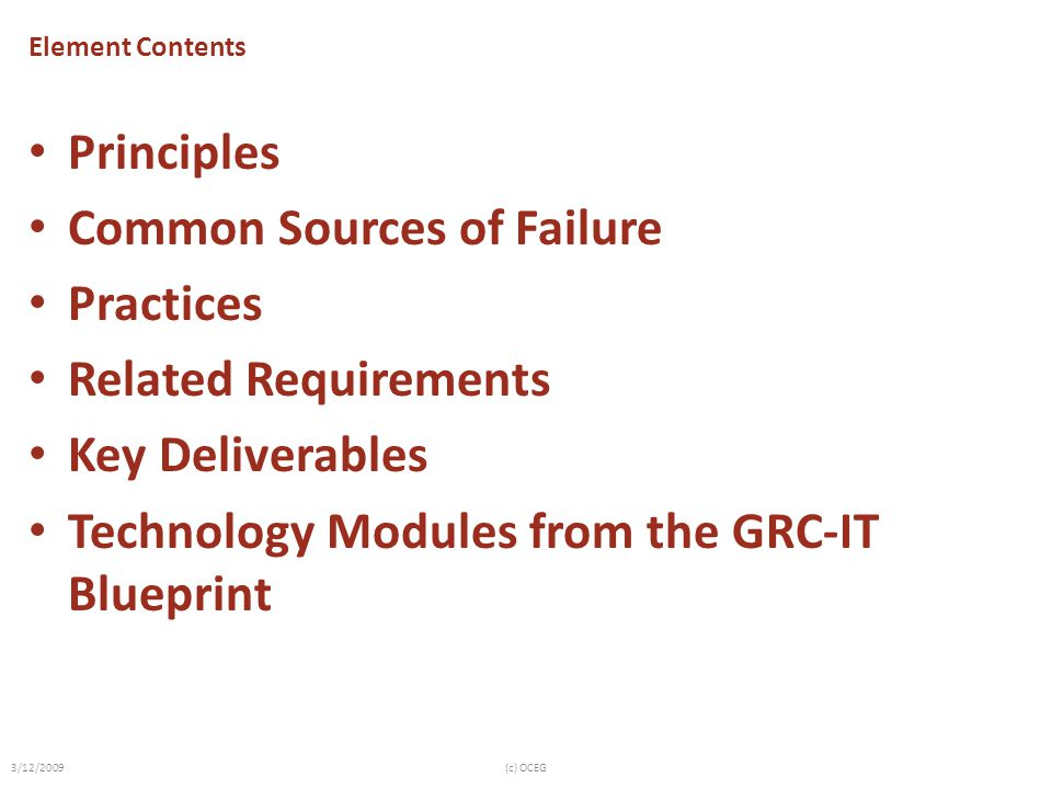 Common Sources of Failure Practices Related Requirements