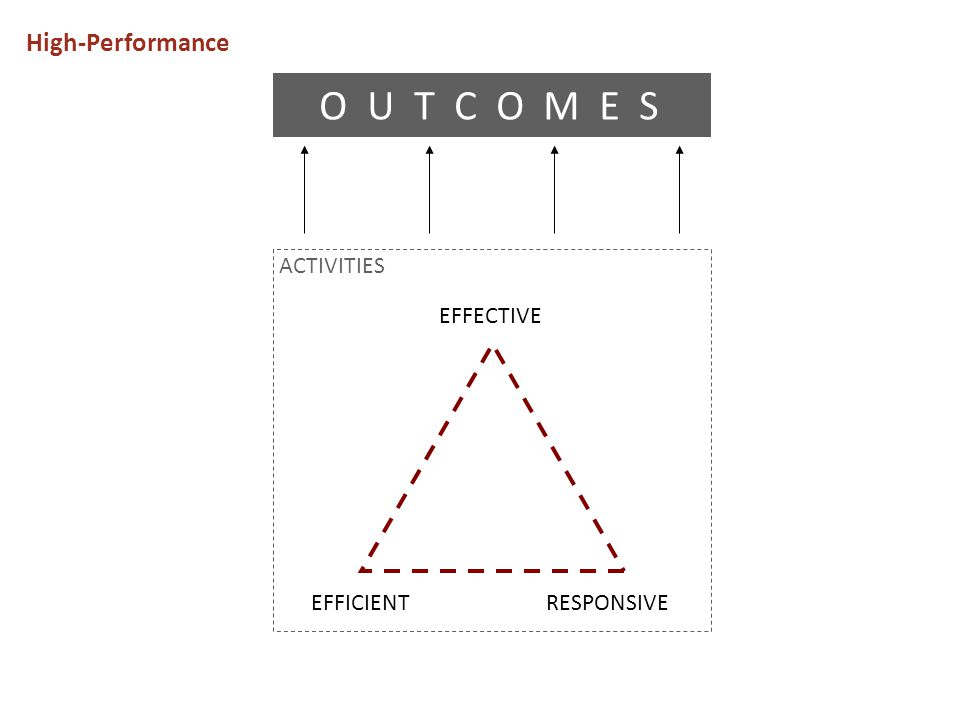 O U T C O M E S High-Performance ACTIVITIES EFFECTIVE EFFICIENT