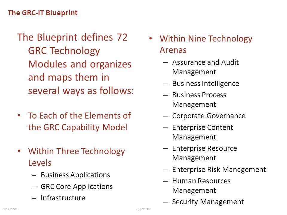 The GRC-IT Blueprint The Blueprint defines 72 GRC Technology Modules and organizes and maps them in several ways as follows: