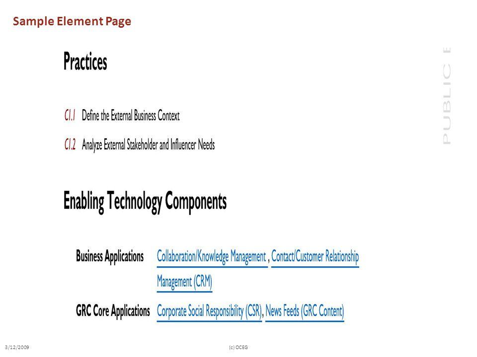 Sample Element Page 3/12/2009 (c) OCEG