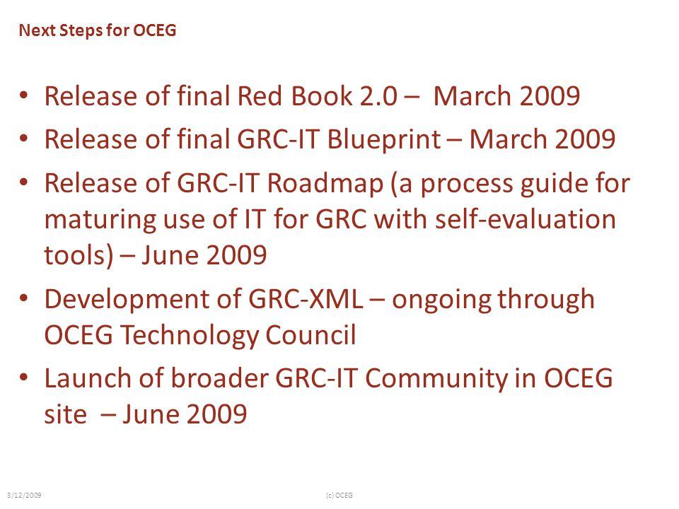 Release of final Red Book 2.0 – March 2009