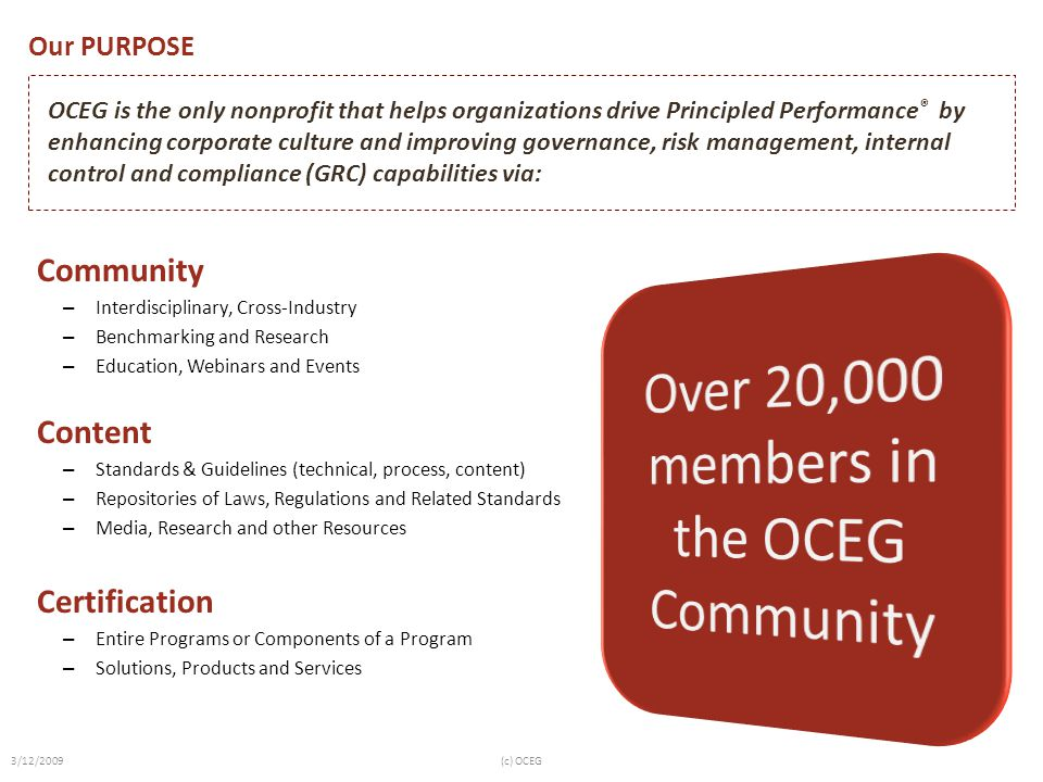 Over 20,000 members in the OCEG Community