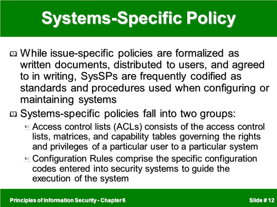 Systems-Specific Policy