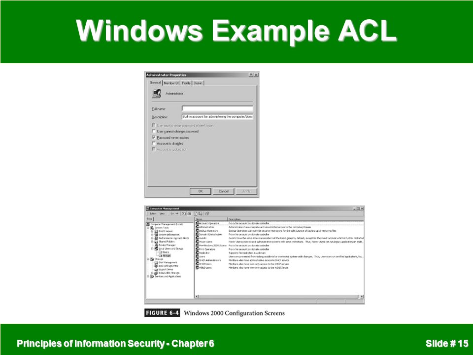 Windows Example ACL Principles of Information Security - Chapter 6