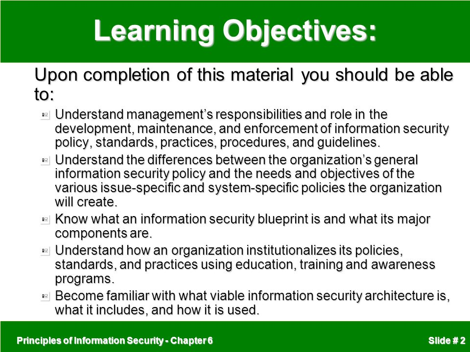 Learning Objectives: Upon completion of this material you should be able to: