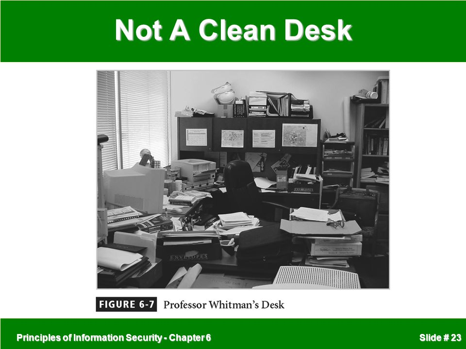 Not A Clean Desk Principles of Information Security - Chapter 6