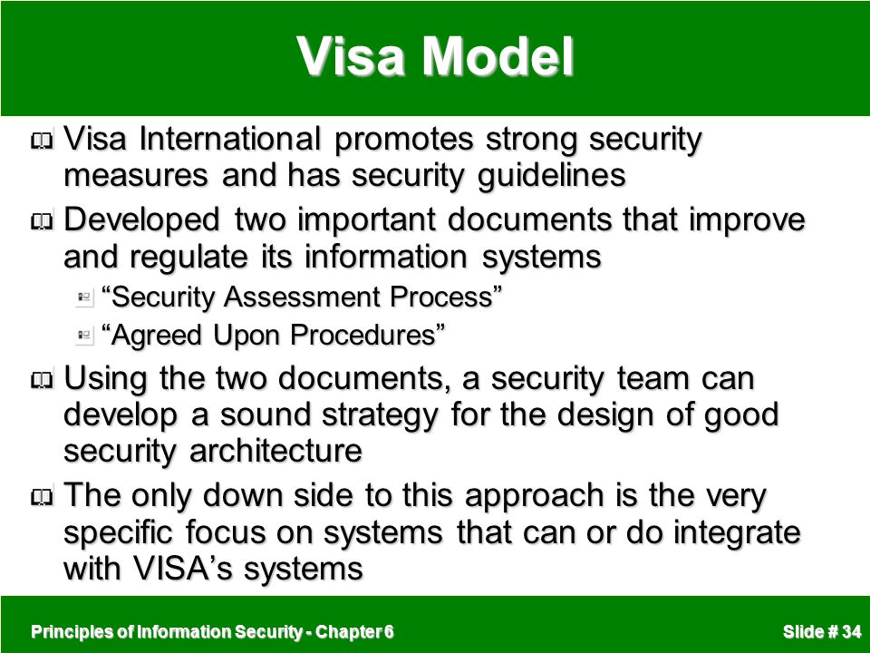 Visa Model Visa International promotes strong security measures and has security guidelines.