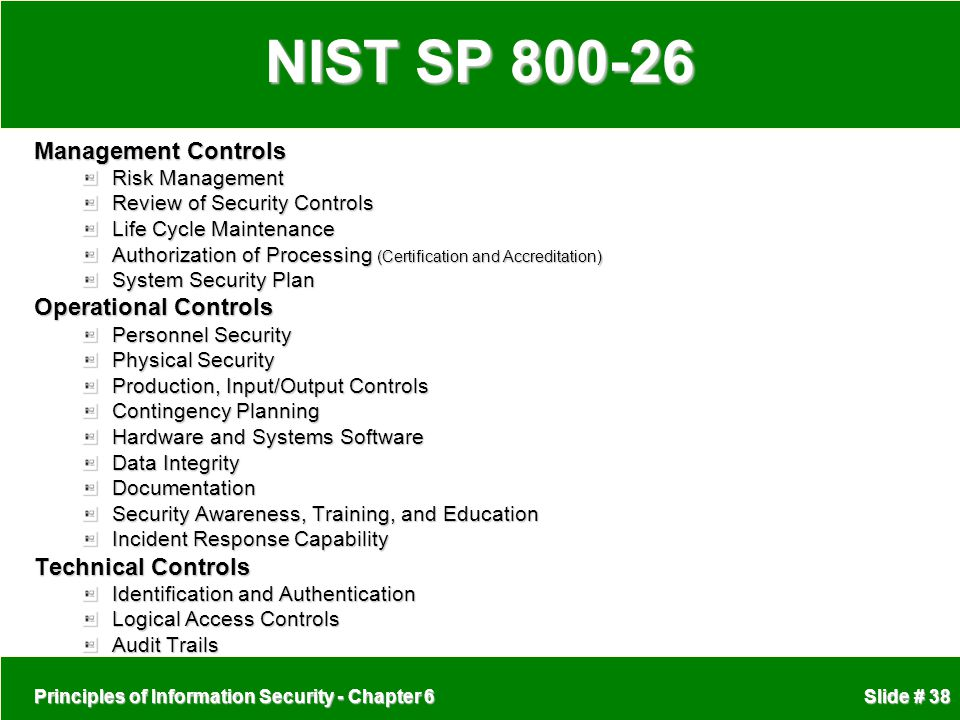 NIST SP 800-26 Management Controls Operational Controls