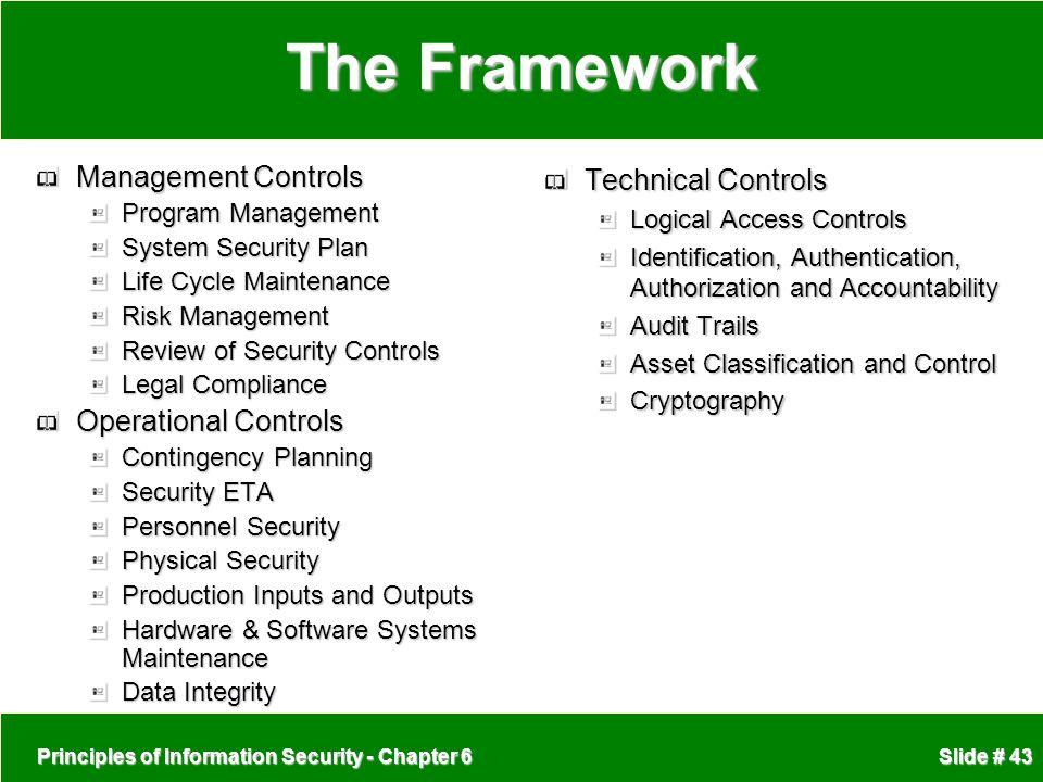 The Framework Management Controls Operational Controls