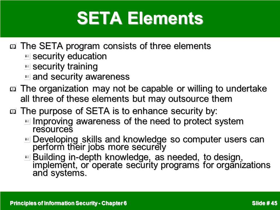 SETA Elements The SETA program consists of three elements