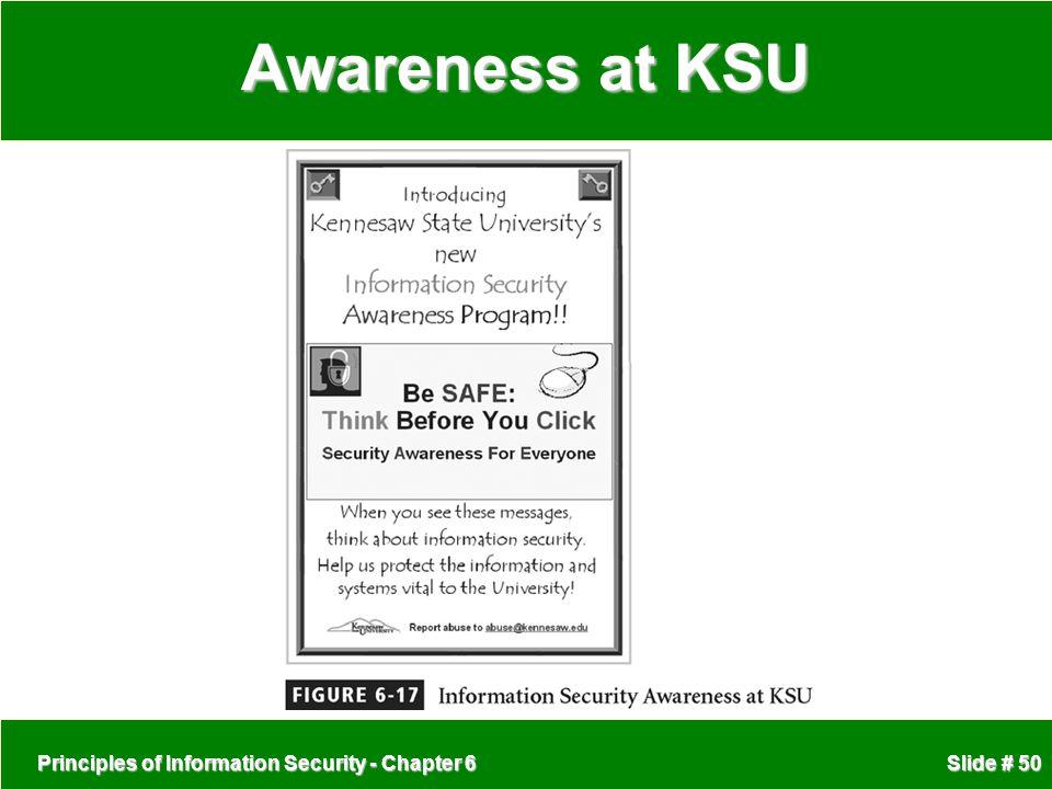 Awareness at KSU Principles of Information Security - Chapter 6