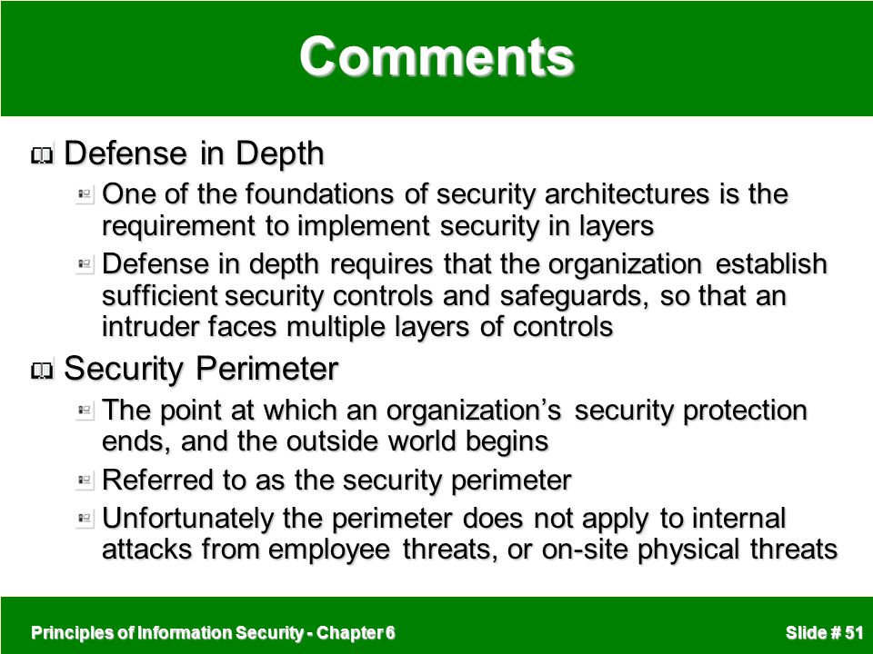 Comments Defense in Depth Security Perimeter