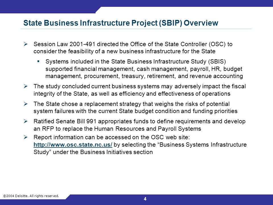 State Business Infrastructure Project (SBIP) Overview