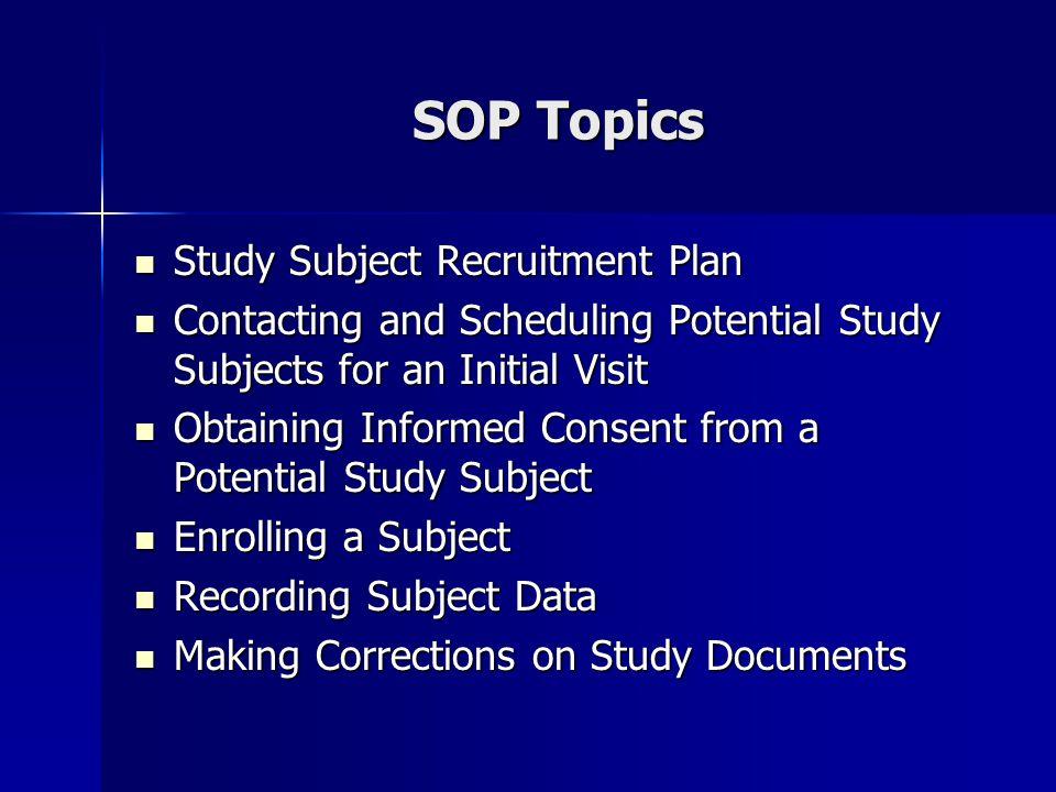 SOP Topics Study Subject Recruitment Plan