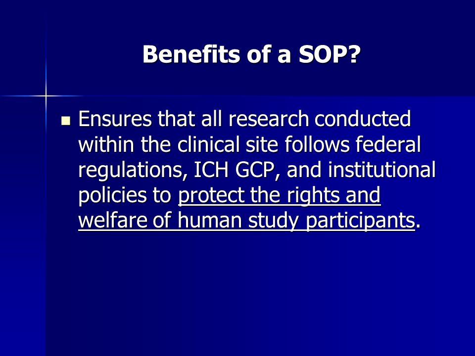 Benefits of a SOP