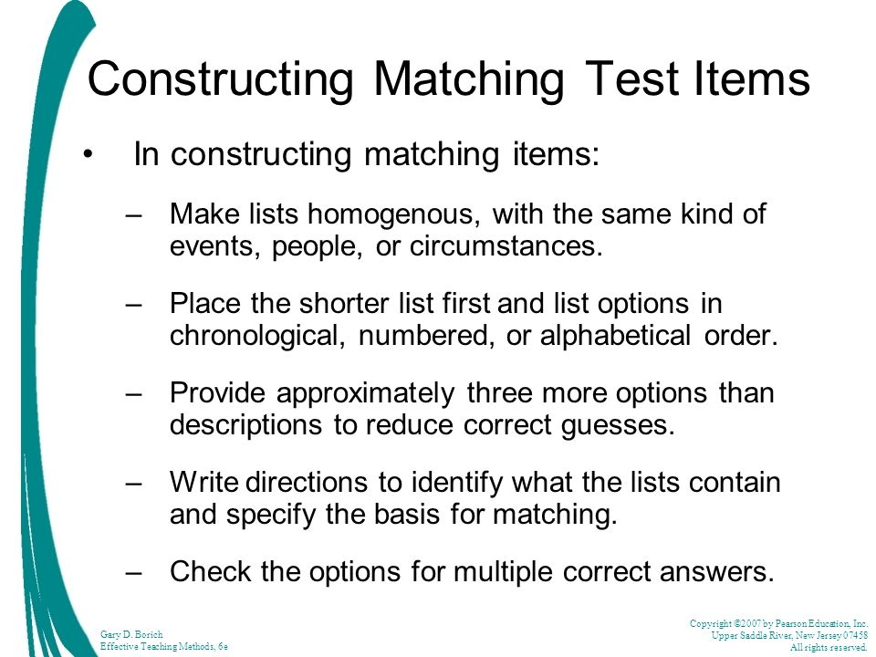 Constructing Matching Test Items